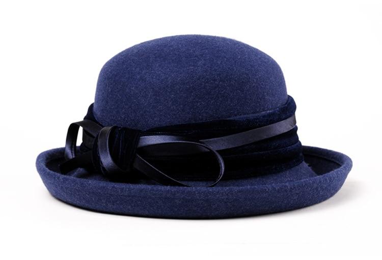 3_Vintage Wide Brim Hats Felt Women Navy Blue Wool Fedora Warm Ladies Bowknot Top Cloche Hat 2018 Chapeau Femme