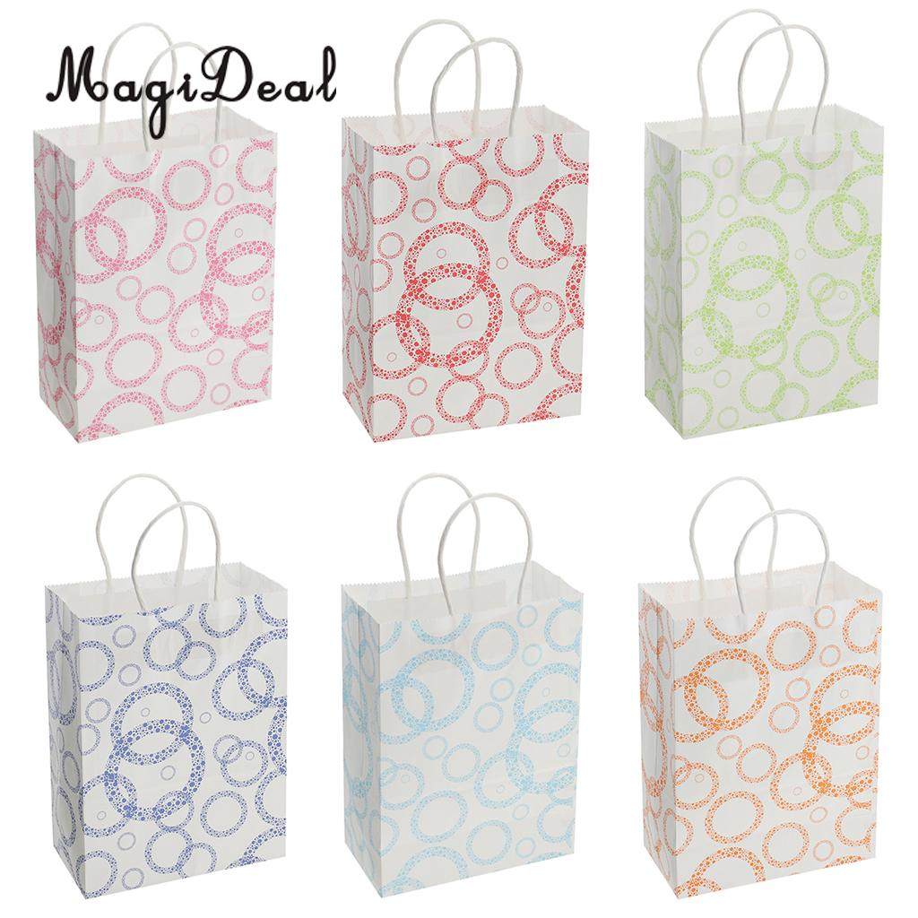 12 Pieces Large Small Circles Paper Bags with Twisted Handle Party Wedding Baby Shower Gift Shopping Bags