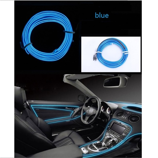 12V USB Car Interior Lighting Auto LED Strip 1M/2M/3M/4M/5M EL Wire Rope Tube Line flexible Neon Light With Cigarette Drive