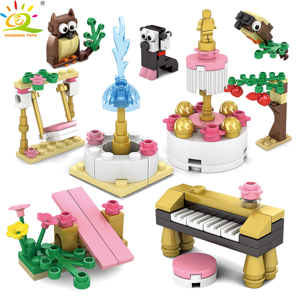 HUIQIBAO TOYS 159pcs Friendship house Mini Scene Building Blocks Educational Toys For Girl Compatible Legoed Friend Part Bricks ...