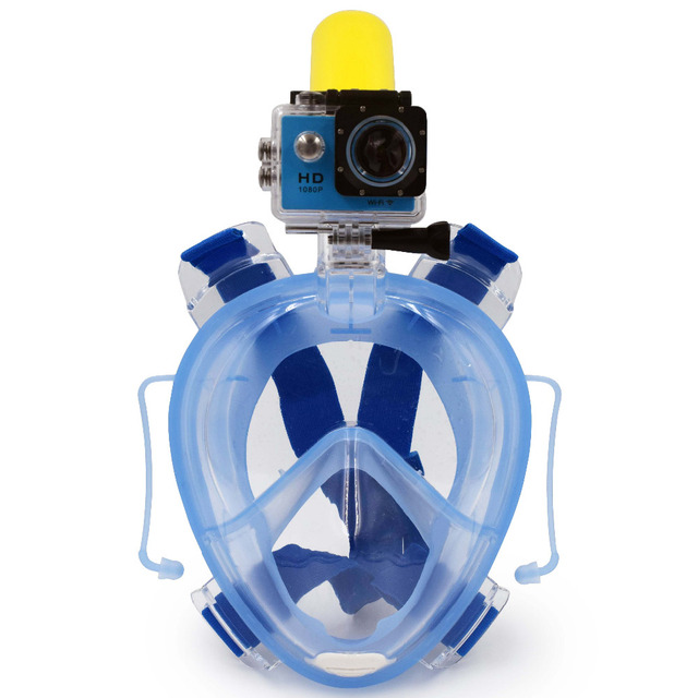 2017 Winmax New Underwater Scuba Anti Fog Full Face Diving Mask Snorkeling Set with Earplug and Camera Holder Mount for Gopro