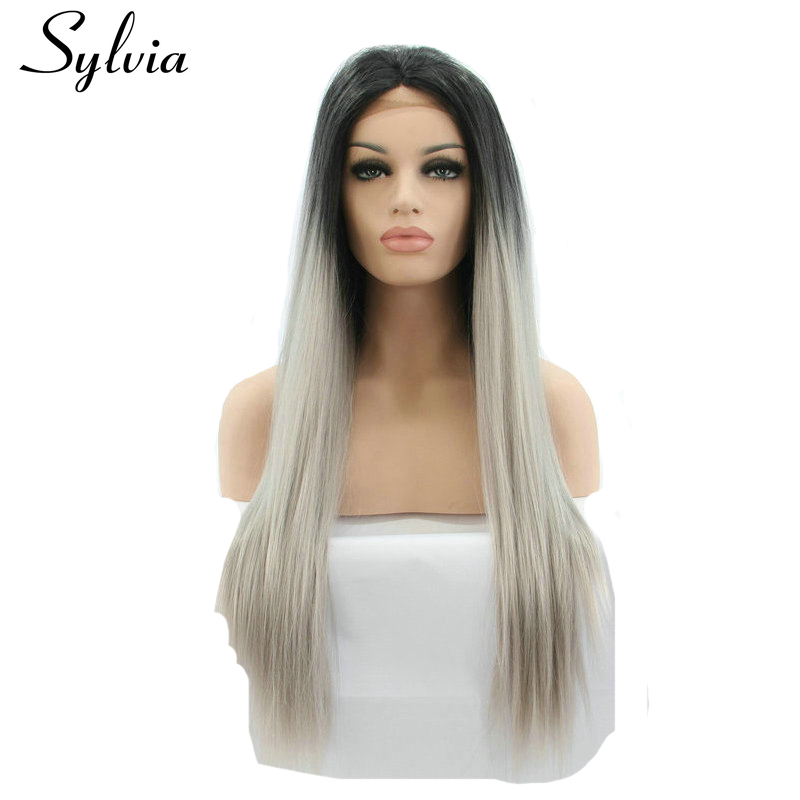 Sylvia natural grey two tone ombre long silky straight synthetic lace front wigs with black roots heat resistant fiber hair
