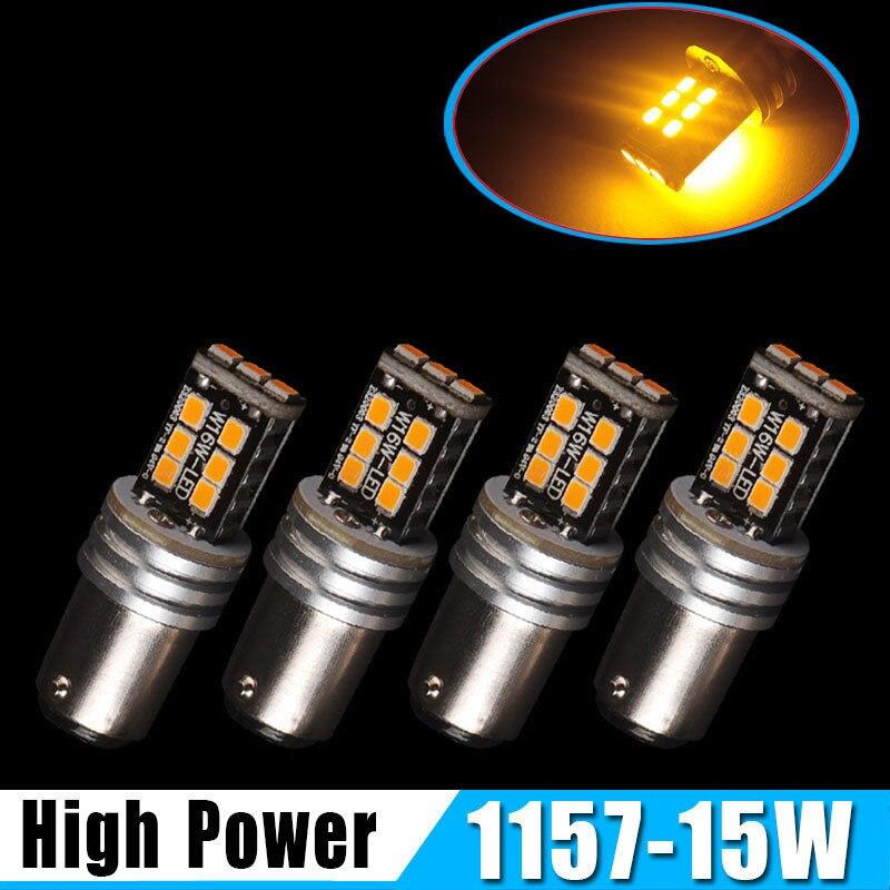 Liplasting 4PCs 1157 High Power 15W 2835 Yellow Bulbs Brake Stop Tail Turn Signal Running Light Shakeproof 12V-24V LED Lamps