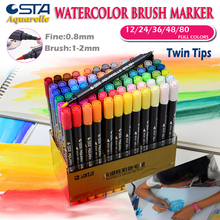 STA Premium watercolor Brush Pen Twin Art Markers Soft Flexible Tip Non-Toxic Water-Based Ink Fineliner Permannent Sketch Marker new soft brush fineliner calligraphy twin marker black ink drawing sketch brush marker pen arts supplies