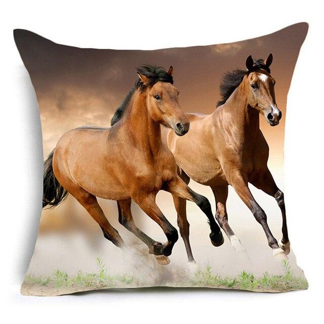 Cavallo Animale Stampato In Poliestere Fodere per Cuscini Ufficio Decorativo Casa Coperte e Plaid Copertura del Cuscino Cojines Kussenhoes Almofada Coussin