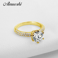AINUOSHI Luxury Micro Pave Setting 2ct 6 Claws Round Ring 14K Solid Yellow Gold Sona Diamond Wedding Engagement Ring for Women