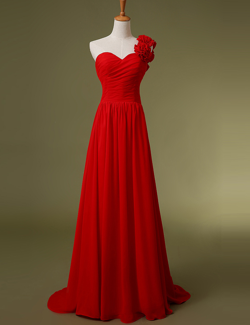 Simple one shoulder bridesmaid dresses red black handmade for Wedding dress with red flowers
