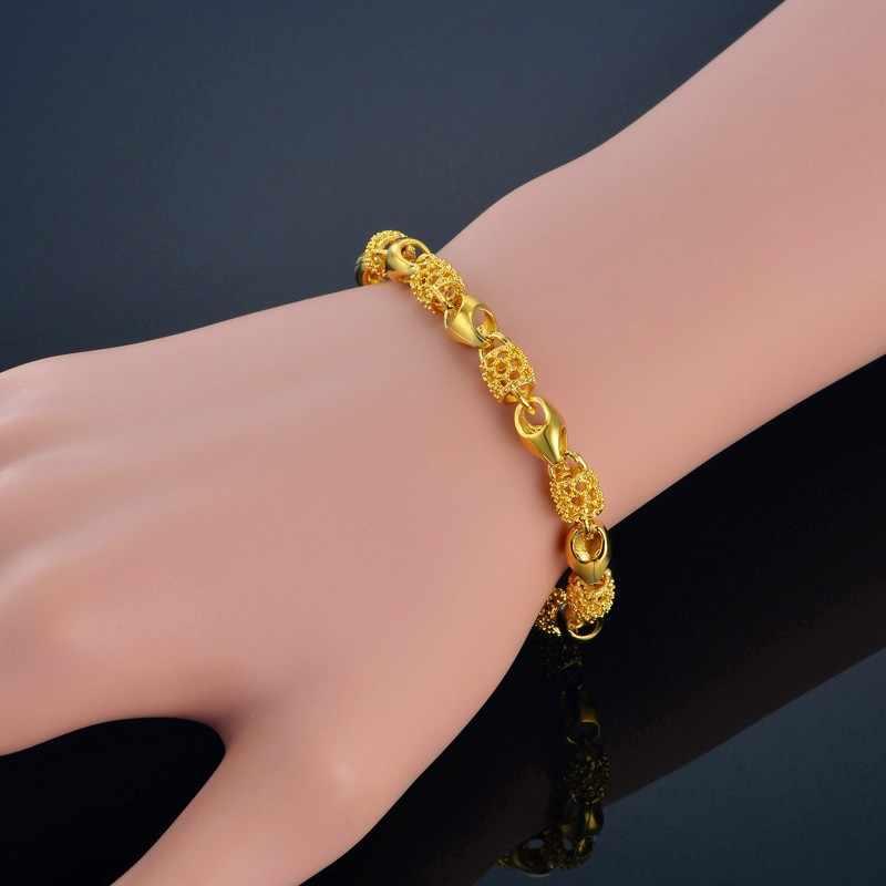 Europejski styl złota bransoletka Charms Chain Link bransoletka z koralików tłoczenie złoty kolor bransoletka kobiet nowy bransoletki i bangles S699