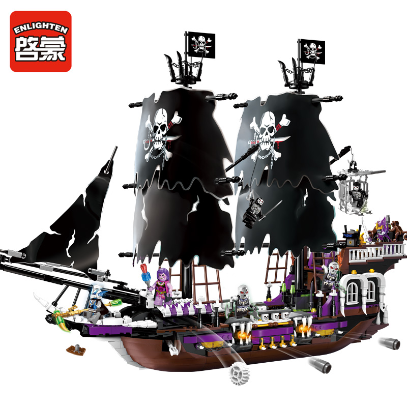 Enlighten 1313 Caribbean Pirate Super Pirate Ship Boat Figure Blocks Construction Building Toys For Children Compatible Legoe 1700 sluban city police speed ship patrol boat model building blocks enlighten action figure toys for children compatible legoe