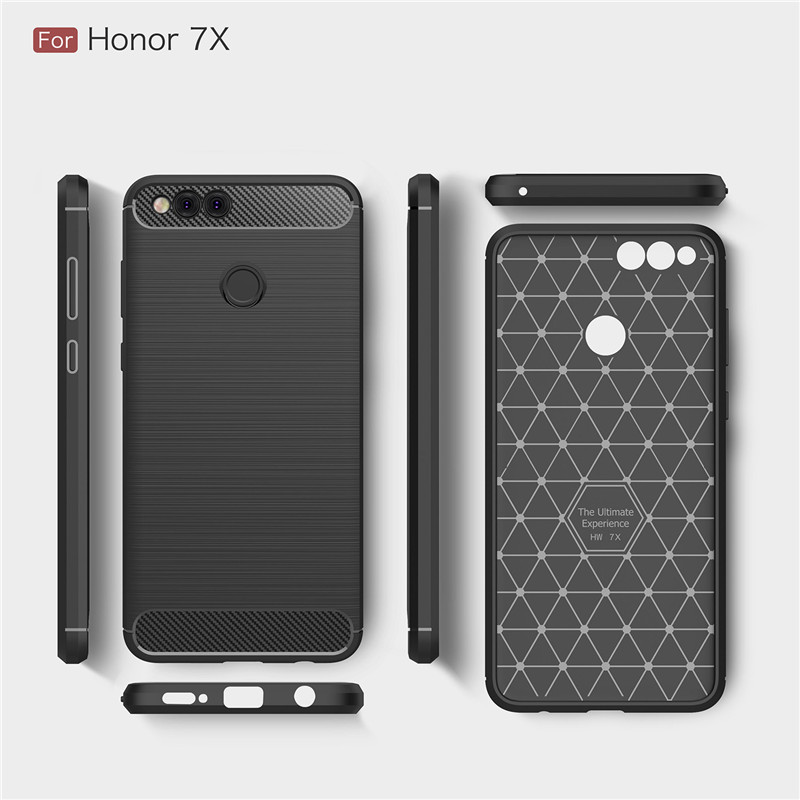 new style f0ee6 bbe40 US $3.99 |OHCFAN For Huawei Honor 7X Case Honor 7X Cover Carbon Fiber  Brushed TPU Silicone Back Cover For Huawei honor 7X mobile phone-in Fitted  Cases ...