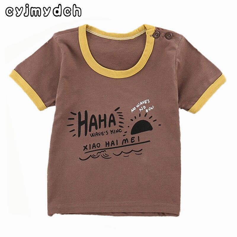Cyjmydch летняя модная детская футболка из хлопка для мальчиков и девочек Футболка kity хлопка футболки топы Тройники детская одежда