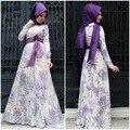 2016 Настоящее Взрослых Нет Djellaba Абая Мусульманских Женщин Платье Фотографии 2017 Новый Печати Мусульманин Платье Турция Национальный женский летом