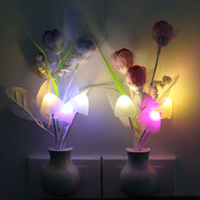EU/US Plug LED Novelty Light Mushroom Tulip Flower Night Light Sensor Night Lamp Home Decoration Romantic Baby Bedroom Foyer @