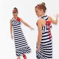 Despojado Niñas Vestido 2016 Verano de La Muchacha de las Colmenas ropas de playa Maxi largo Del Vestido Del Bowknot de La Princesa Ropa de Los Niños Embroma la Ropa