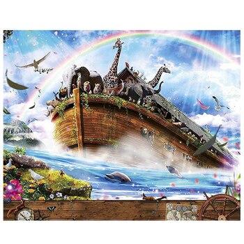 5d Diy Damond Boyama çapraz Dikiş Nuhun Gemisi Elmas Nakış Manzara