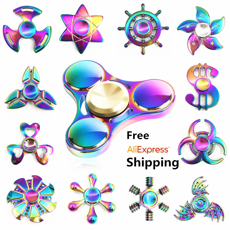 Rainbow brass Fidget Spinner Finger ABS EDC Hand Spinner Tri For Kids Autism ADHD  Anxiety Stress Relief Focus Handspinner Toys new style edc round three corner camouflage hand spinner for autism and adhd anxiety stress relief focus toys