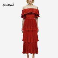 Seamyla 2017 New Fashion Designer Runway Dress Women S Slash Neck Cascading Ruffle Pleated Dress Elegant