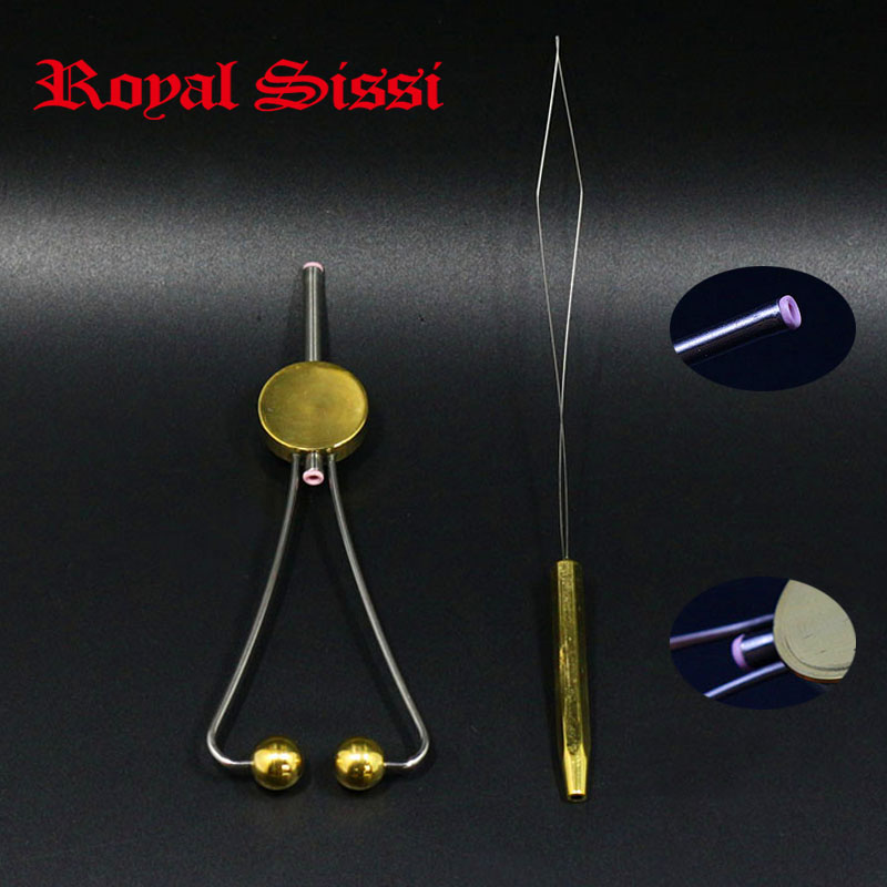 1set doctor disc Bobbin &fly tying bobbin threader Combo/Fly fishing tying tools new Bobbin Holder with both sides Ceramic Tips new bullet head bobbin holder with ceramic tube tip protecting lines brass copper material