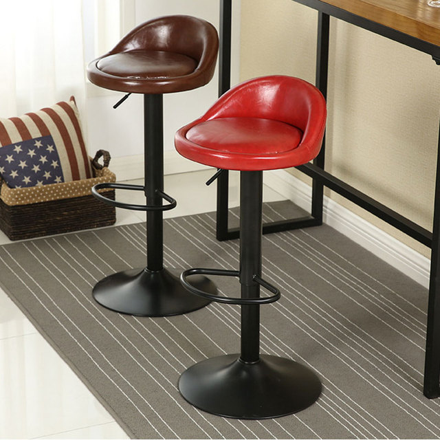 Synthetic Leather Rotating Adjule Height Bar Stool Chair Stainless Steel 5 Colors Europe American Commercial Home