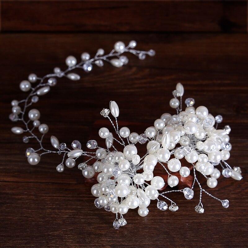 luxurious silver headband tiara women forehead pearl crystal hairband floral hair ornaments bridal gifts for wedding