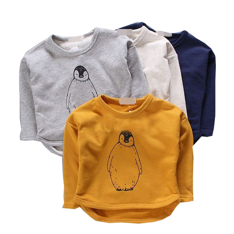NEW autumn girls boys t shirt clothes baby kids long sleeve cotton Penguin print t shirt tops tees baby sweatshirt kids clothes off the shoulder long sleeve letter print sweatshirt