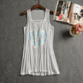 P85 2016 Fashion Sexy Lace Hollow Out Women Tank Tops Beach Cloth Sleeveless Camisole Sequined Beading White Mesh Vest Tops