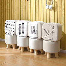 shoestool sofa stool fabric stool  wood legs  frame stool small bench home simple ottoman living room furniture