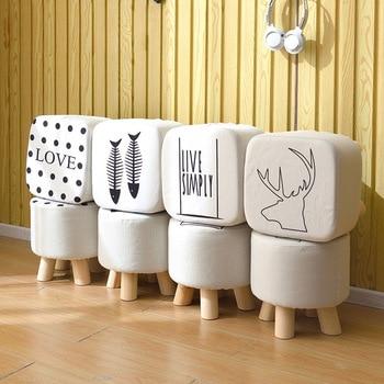 shoestool sofa stool fabric stool  wood legs  frame stool small bench home simple ottoman living room furniture