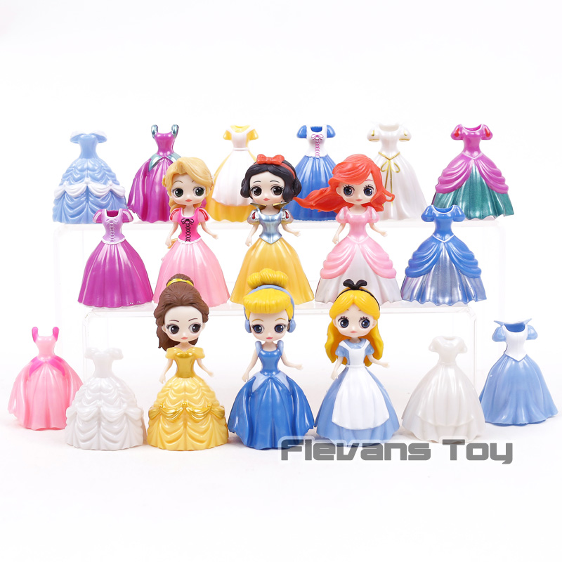 Princess Dolls Cinderella Belle Alice Snow White Ariel Rapunzel Figures Princesses with Dresses Girls Toys 6+12pcs/set