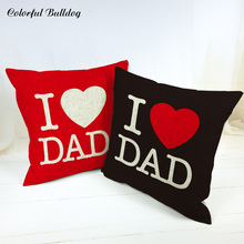 I lOVE DAD Festival of Father's Day Letter Pillow Case Living Room 45*45 Square 1 Side Print Burlap Home Decor Sofa Fundas Cojin 3 day pass main square festival 2017