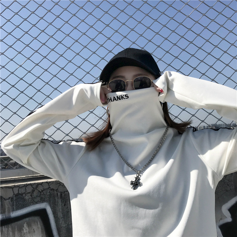 T-shirts Women Long Sleeve Turtleneck Striped Letter Embroidery Harajuku Womens Loose T-shirt Trendy Chic Korean Style All-match 12