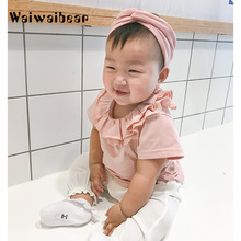 Waiwaibear High Quality Baby Girls Cotton T-Shirt  Clothes Casual Solid Short Sleeve Floral Ruffles Collar