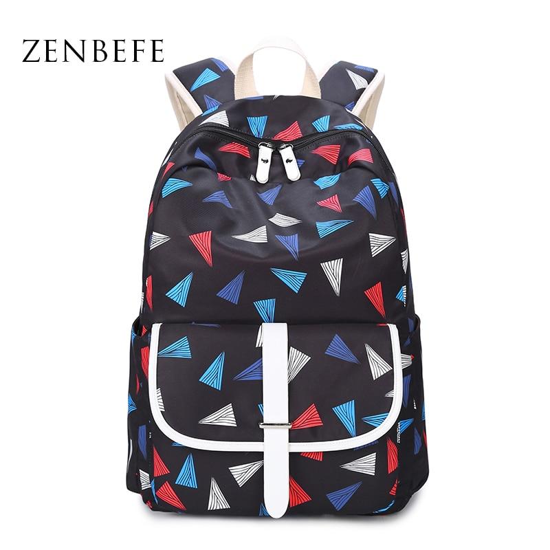 ZENBEFE 새로운 디자인 여성 백팩 폴리 에스터 학교 가방 청소년을위한 여자 배낭 노트북 백팩 학교 가방 레이디 Bookbags