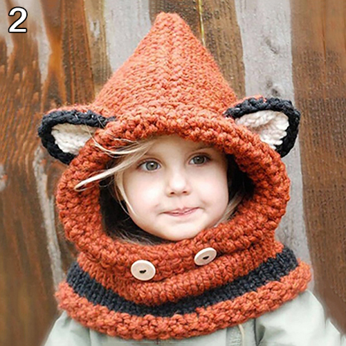 Cute Fox Ears Pattern Knitted Warm Hat Fashion Baby Infant Kids Hooded Shawl Cap stylish stripe pattern fringed shawl wrap pashmina