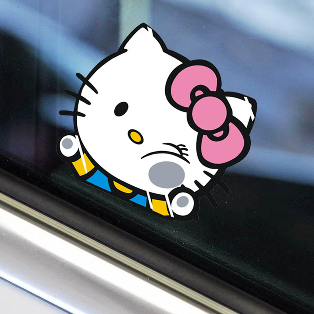 Car sticker maker app - Funny Hello Kitty Hitting The Glass Car Body Stickers Car Decal For Toyota Chevrolet Volkswagen Tesla