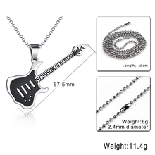 Vnox Trendy Guitar Necklace Pendant Free 24inch Chain Stainless Steel Punk Rock Music Jewelry