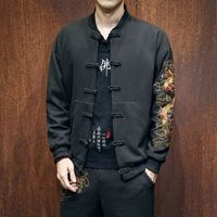 Traditional Chinese Long Coat Men's Cotton/Linen Winter Jacket SZ S 3XL