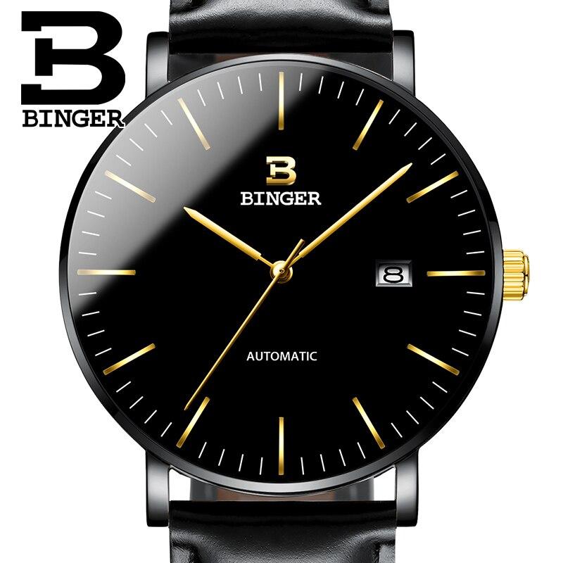 Suiza BINGER hombre relojes marca de lujo hombre reloj zafiro Japón NH35A movimiento mecánico reloj hombre B 5081M 10-in Relojes mecánicos from Relojes de pulsera    1