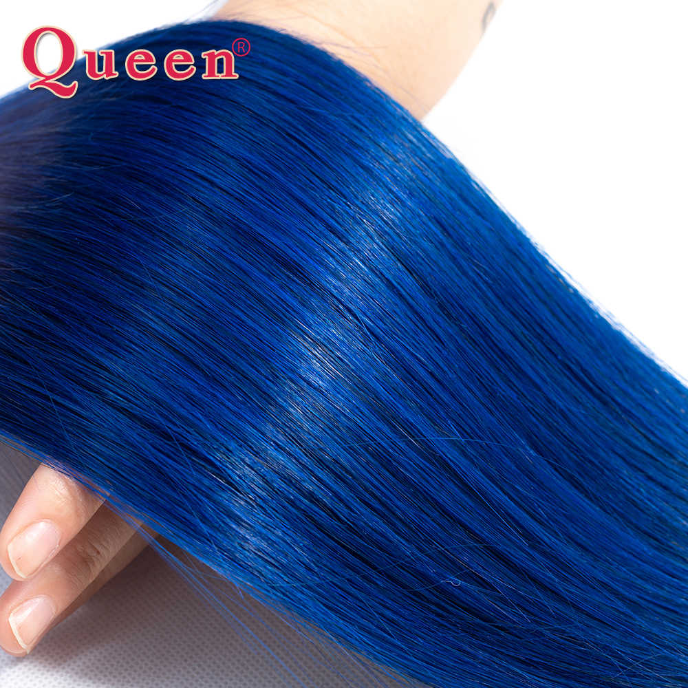 Queen Hair Products Brazilian Ombre Human Hair 1/3/4 Bundles Straight Two Tone 1B/Blue Straight Human Hair Weave Extensions