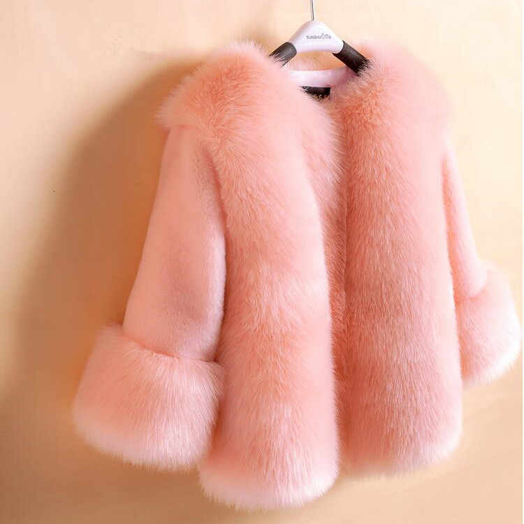 Bramd New Little Girls Winter Coat Faux Fox Fur Coat O-Neck Children's Faux Fur Outwear Long Sleeve Pink Fur Coat For Girls Soft