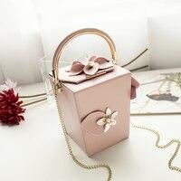 2019 summer 3D flower rhinestone women's handbag small evening bag lady's shoulder bag mini chain bag box bag