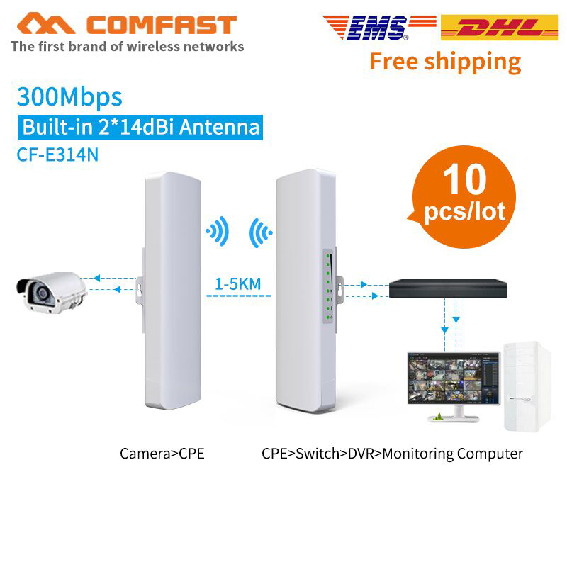 10pcs 2.4Ghz Outdoor WIFI CPE 3KM Range 300Mbps Access Point AP Router WDS WIFI Bridge Wifi Repeater Nanostation Wifi For IP Cam