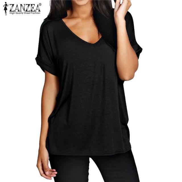 345a9b642ca ZANZEA 13 Colors Womens T-shirt 2018 V neck Short Sleeve Basic Tee Tops  Plus Size Camouflage Loose T Shirt Blusas Mujer Poleras