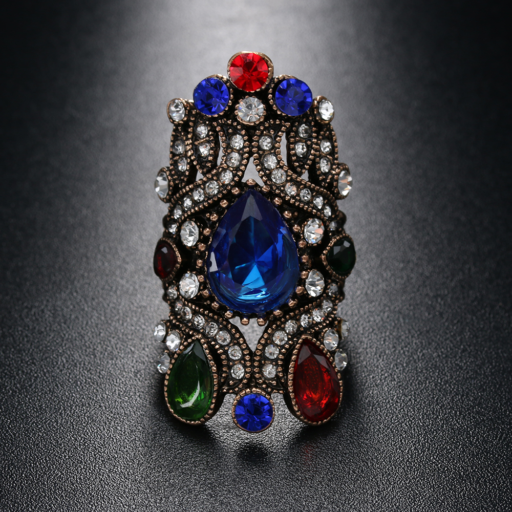 1 Pc Retro Turkije Fashion Gouden Ringen Sieraden Geschenken Retro Mozaïek Kristal Kroon Ringen Voor Vrouwen Boho Wedding Engagement Sieraden