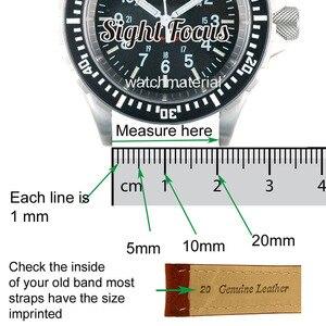 Image 5 - 22mm fou cheval veau cuir sangles pour Hamilton Zenith Seiko bracelet de montre Rivet militaire pilote kaki champ Aviation montre ceintures
