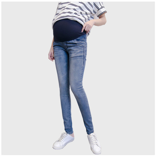 bee18ce5f5ba4 2018 Denim Overall Plus Size Jeans Solid Colored Skinny Pregnant Women  Elastic Belly Pregnancy Clothes Maternity Clothes Jeans