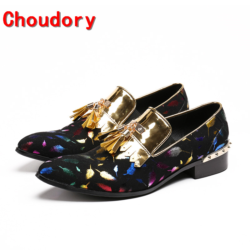 Choudory mens italian leather shoes classic gold tassel dress shoes men slipon velvet black spiked loafers elegant prom shoesChoudory mens italian leather shoes classic gold tassel dress shoes men slipon velvet black spiked loafers elegant prom shoes