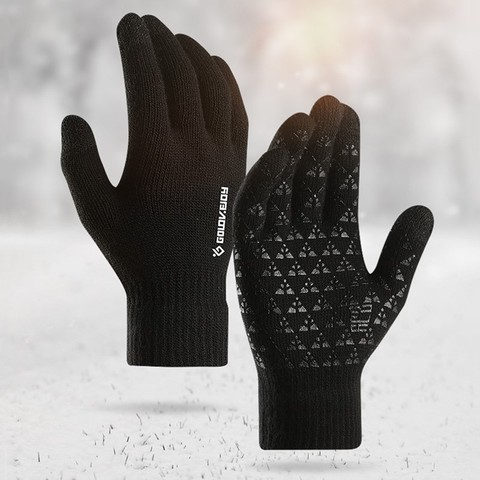Winter Autumn Warm Men Knitted Gloves Flexible Full Finger Gloves Male Thicken Wool Cashmere Solid Gloves for Smart Phone Tablet Pakistan