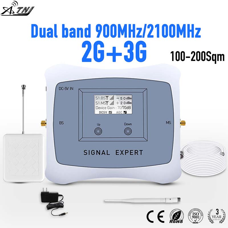 Full Smart!2g 3g mobile signal repeater DUAL BAND 900/2100mhz cellular signal cell phone booster amplifier with LCD display kitFull Smart!2g 3g mobile signal repeater DUAL BAND 900/2100mhz cellular signal cell phone booster amplifier with LCD display kit
