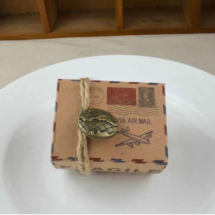 Kotak tas permen chocolate kertas paket hadiah untuk Ulang Tahun perlengkapan Pesta Pernikahan favor Decor DIY prangko desain Wh